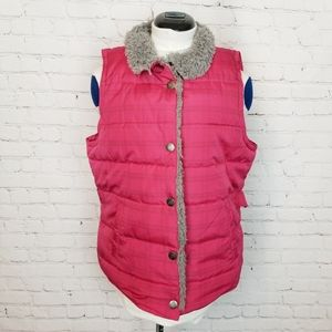 Maurices|Pink Plaid Sherpa Collar Puffer Vest